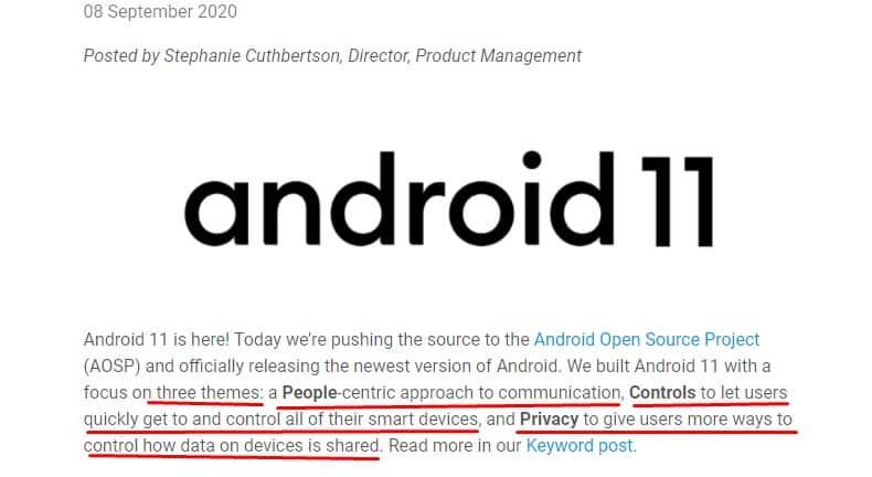 Android 11 focused on three themes